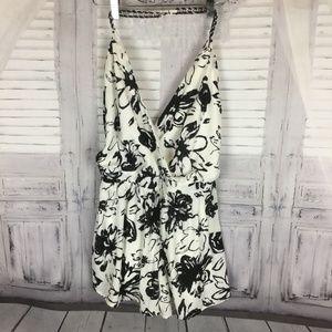 Lulumarie Black White Chain Halter Romper Shorts M
